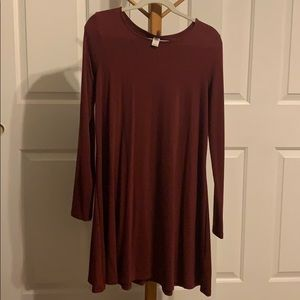 A maroon a-line swing dress from Old Navy